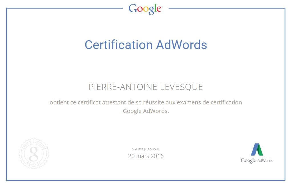 Certification Google Adwords - Pierre-Antoine Levesque
