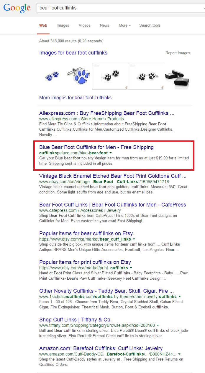 recherche google bear foot cufflinks