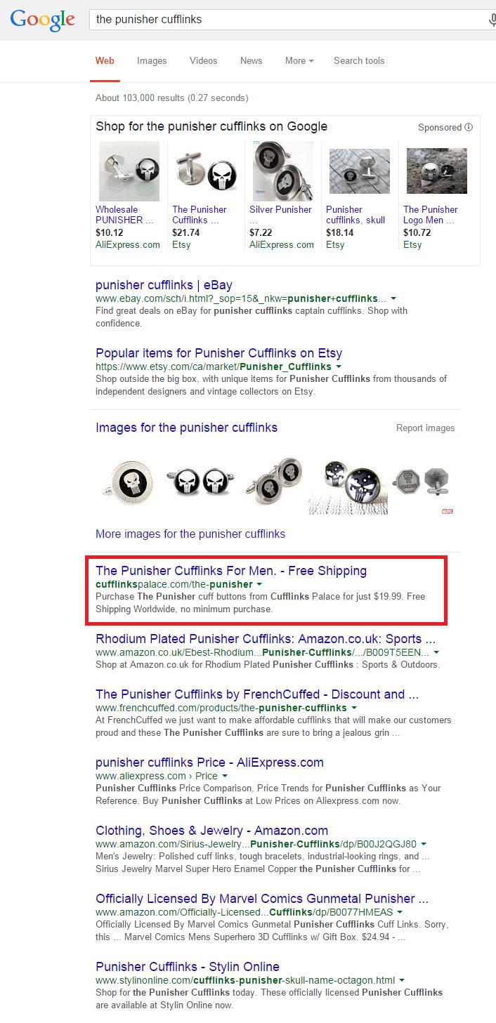 recherche google the punisher cufflinks