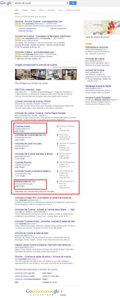 En vous inscrivant à Google local business vous êtes automatiquement éligible à apparaître dans les résultats locaux.