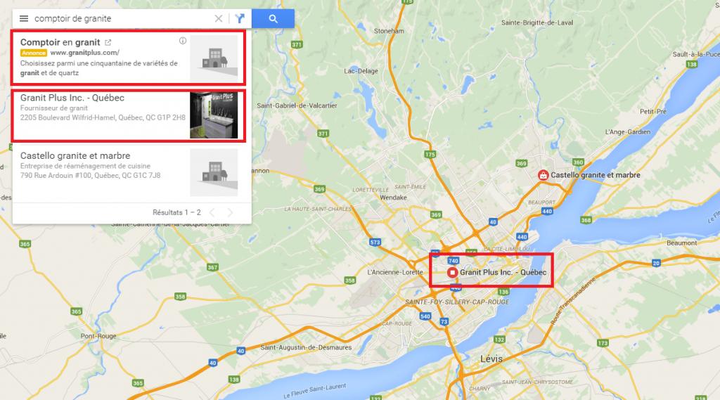 Comment faire pour se référencer sur Google Map. L'exemple des comptoirs de granit à Québec.