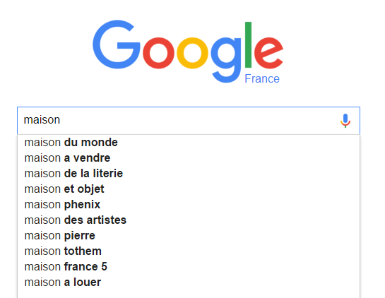 mise a jour google suggest