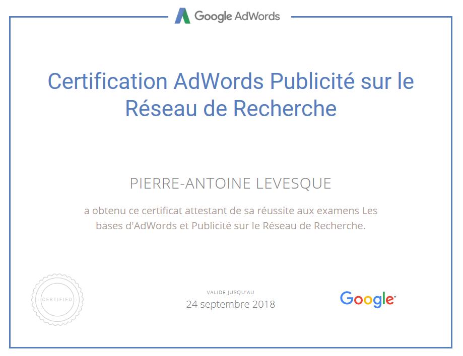 Pierre-Antoine Levesque - Certification Google adwords