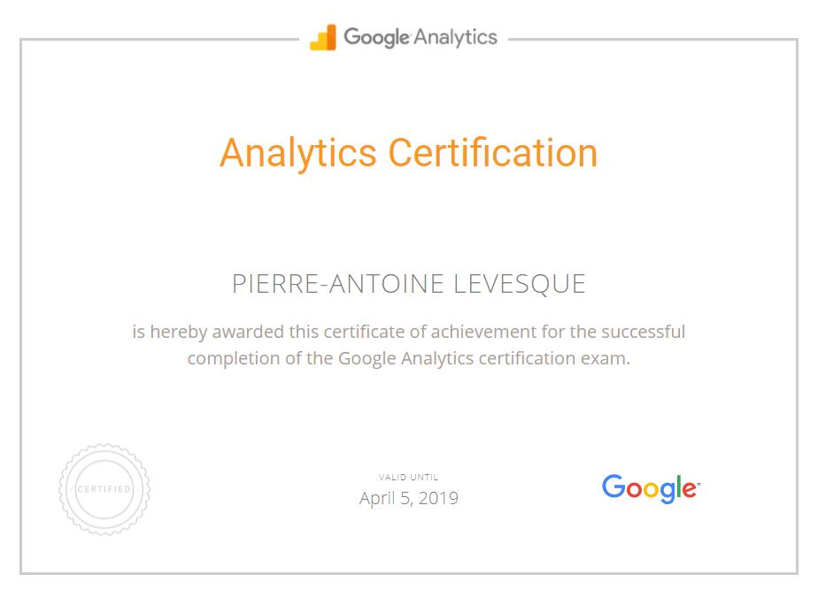Pierre-Antoine Levesque - Certification Google Analytics